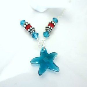 Blue starfish coral sterling silver necklace